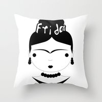 frida Throw Pillows featuring Frida by stavrina inno