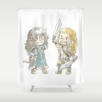 fili Shower Curtains featuring At your Service! by AlyTheKitten