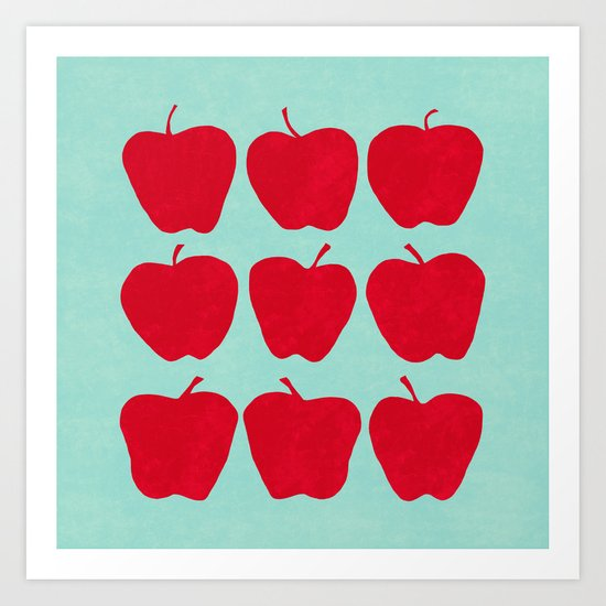 9 Apples Pale Turquoise Art Print By Jacqueline