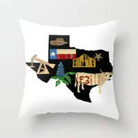 texas Throw Pillows featuring Texas by Colorfly Studio