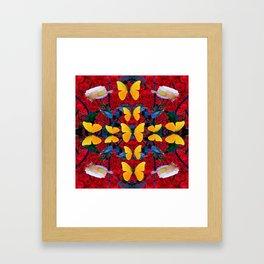 RED-WHITE ROSES & YELLOW BUTTERFLIES GARDEN Framed Art Print