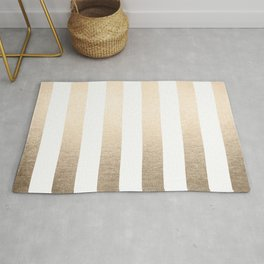 Simply Vertical Stripes in White Gold Sands Rug