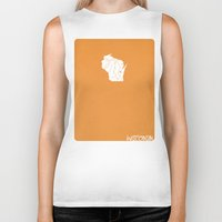 wisconsin Biker Tanks featuring Wisconsin Minimalist Vintage Map by Finlay McNevin