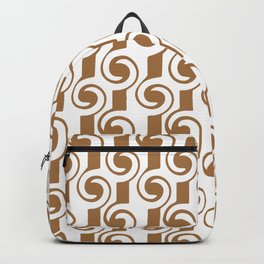 Bronze Colored Steampunk Lines and Curls Abstract  Backpack
