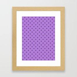 Black on Lavender Violet Snowflakes Framed Art Print