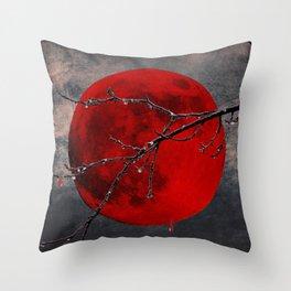 Modern Blood Red Moon Rain Gothic Decor A175 Throw Pillow