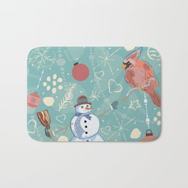 Seamless Winter Pattern with Christmas Ornaments Bath Mat