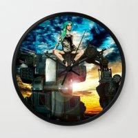 heavy metal Wall Clocks featuring Heavy Metal by Danielle Tanimura