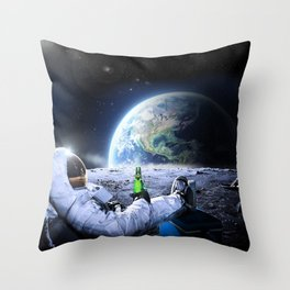 Astronaut on the Moon with beer Throw Pillow