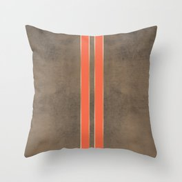 Vintage Hipster Retro Design - Brown Leather with Gold and Orange Stripes Throw Pillow