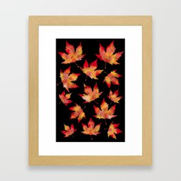 Maple leaves black Framed Art Print