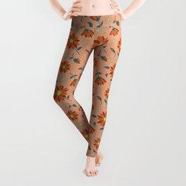 Peach Hues Decorative Floral   Leggings