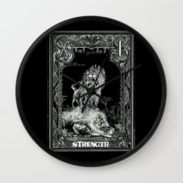 STRENGTH of Tarot Cat Wall Clock