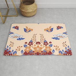 Birds and flowers, decorative artwork for nature lovers Rug