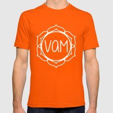 Vam—Sacral Chakra Mantra Mens Fitted Tee Orange SMALL