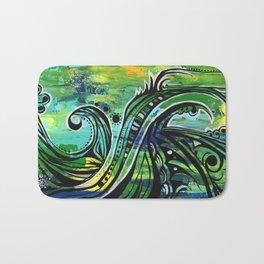 green and blue Bath Mat