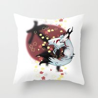 okami Throw Pillows featuring Okami Amaterasu by becka_miller