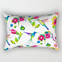 Spring, flowers and colibry Rectangular Pillow