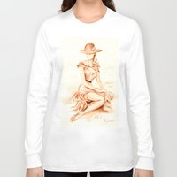 erotic Long Sleeve T-shirts featuring Nostalgic erotic woman - Retro Style by Marita Zacharias