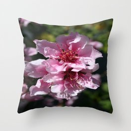 Peach Tree Blossom With Garden Background Throw Pillow