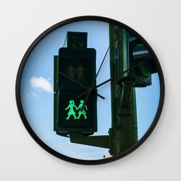 0000340 Traffic light supports the  LGBQT community in Madrid Spain 3443 Wall Clock