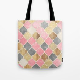Silver Grey, Soft Pink, Wood & Gold Moroccan Pattern Tote Bag