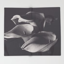 Calle lilies, photo, fine art, three flowers photography, still life, nature lover, Robert Mappletho Throw Blanket