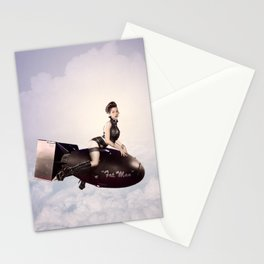 """Up and Atom"" - The Playful Pinup - Military Bomb Pin-up Girl by Maxwell H. Johnson Stationery Cards"