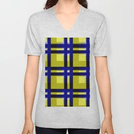 pattern blue jellow black 2 Unisex V-Neck