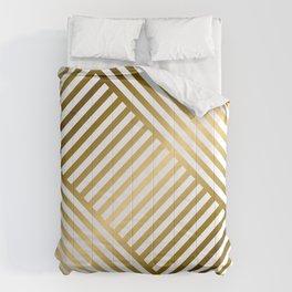 Art Deco Gold and Eggshell White Geometric Pattern Comforters