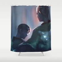 levi Shower Curtains featuring Eruri by pingu