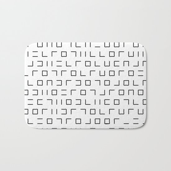 Code Breaker - Abstract, black and white, minimalist artwork Bath Mat