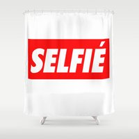 selfie Shower Curtains featuring Selfie by Poppo Inc.