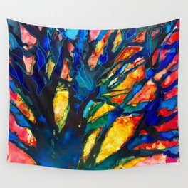 red sky blue trees_katallie Wall Tapestry