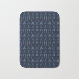Abstract Shapes Lines Pattern Indigo Batik Bath Mat