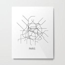 Paris map poster, map of paris poster, paris map, paris city map, paris print, map wall art Metal Print