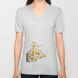 Many white flowerheads of chamomile bunch Unisex V-Neck