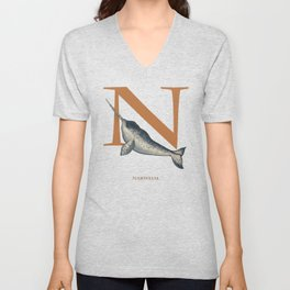N is for Narwhal: Under Appreciated Animals™ ABC nursery decor sea life blue unusual animals Unisex V-Neck