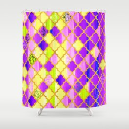 Moroccan Tile Pattern In Purple And Yellow Shower Curtain