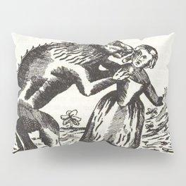 Werewolf attack Medieval etching Pillow Sham