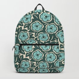 Flower Bouquet Pattern Mint Green on Green Backpack