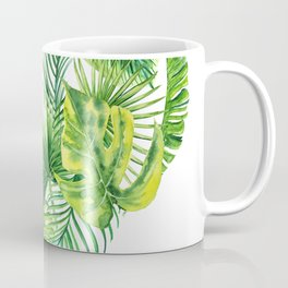 heart made of watercolor tropical leaves Coffee Mug