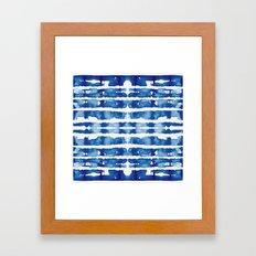 Shibori Vivid Indigo Blue and White Framed Art Print