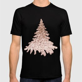 Sparkling christmas tree rose gold ombre T-shirt