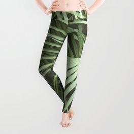Green Palm Leaf Nature Coastal Tropical Leaves Leggings