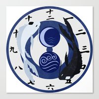 airbender Canvas Prints featuring Avatar The Last Airbender Water Clock Face by Art of Sara