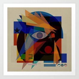 Space Face (White Square) Art Print