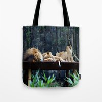 lions Tote Bags featuring Lions by Georgia