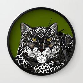 snow leopard green Wall Clock