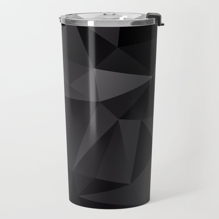 Abstract of triangles polygo in black colors Travel Mug